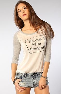 #misskl #springtimeinparis Stones The Pardon My French Raglan in Gray and Cream : MissKL.com - Cutting Edge Women's Fashion, Accessories and Shoes.