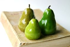 Porcelain Pears  Set of 3 Handmade Sculptures  by BackBayPottery, $59.50