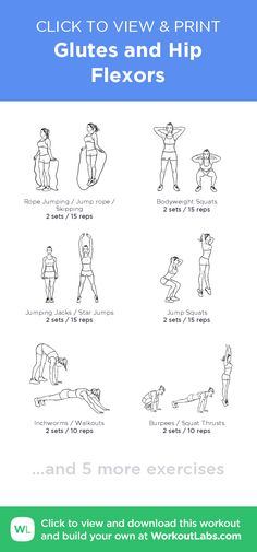Glutes and Hip Flexors –click to view and print this illustrated exercise plan created with #WorkoutLabsFit