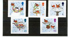 GB STAMP MINT NH QE 11 2001 CHRISTMAS ROBINS SG 2238 - 2242 SCOTT 2002 - 2006