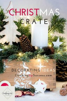 Decorate and style a wooden crate for Christmas! This DIY Christmas craft project tutorial teaches you how to upcycle a small wooden a crate by using wood-stain and Christmas stencils! Then we're going to style it up for the holidays, using greens, Christmas ornaments and more. Includes my super easy tip for successful styling every time! #christmascrateideas #christmascrateideas #christmascratedecor Christmas Stencils, Christmas Craft Projects, Christmas Bows, Christmas Decorations, Christmas Ornaments, Hygge, Wooden Crates Christmas, Wood Letter Crafts, Crate Decor