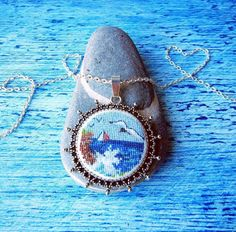 Crossstitch pendant Sea от Microstitch на Etsy