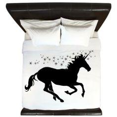 Magical Unicorn Silhouette King Duvet at CafePress