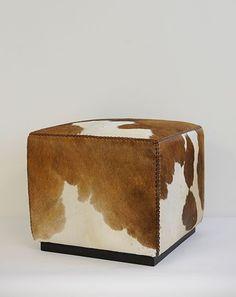 Cowhide cube ottoman