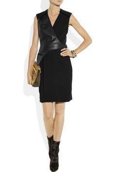 Alexander Wang|Leather and stretch-crepe wrap dress|NET-A-PORTER.COM