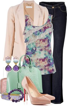 """spring blazer and ruffled tank"" by meganpearl on Polyvore"