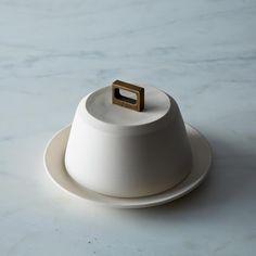 Bronze handle butter dish