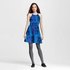 Women's Halter Neck Skater Dress Blue XS - Mossimo Supply Co. (Junior's)