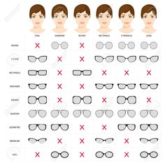 Stock Vector Right glasses for women s face shape. Stock vector illustration of glasses shapes for different female face types. glasses for woman. Female glasses different types. Glasses For Oval Faces, Glasses For Face Shape, Eyeglasses For Women Round Face, Glasses Heart Shaped Face, Diamond Face Shape Glasses, Hair For Face Shape, Makeup For Oval Face Shape, Frames For Round Faces, Square Face Makeup