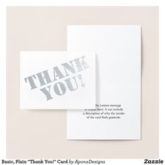 """Shop Basic, Plain """"Thank You!"""" Card created by AponxDesigns. Paper Envelopes, White Envelopes, Thank You Greeting Cards, Colored Paper, Messages, Ink, Silver, Prints, Appreciation Cards"""