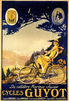 Cycles Guyot Vintage French Bicycle Poster print from Swiss bike brand Vintage Advertisements, Vintage Ads, Poster Graphics, The Animals, Bike Poster, Vintage Cycles, Retro Poster, Bicycle Art, Cycling Art