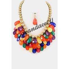 "Rainbow Teardrop Necklace Set ✳️Bundle to save 15%!✳️ Multi-color tear drop clusters Ball chain Comes with matching teardrop earrings  Length: 16"" Adjustable  Lobster Claw Closure Boutique  Jewelry Necklaces"
