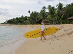 #ROXYOutdoorFitness Early Riser Sunrise SUP workout with Lisa Andersen in Tavarua, Fiji