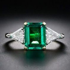 1.80 Carat Emerald and Diamond Ring - Antique & Vintage Gemstone Rings - Vintage Jewelry