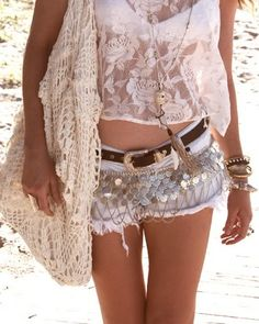 Beach grunge style, boho chic crochet purse & crop top, modern hippie jean cut off shorts with gypsy style coin embellishments. FOLLOW http://www.pinterest.com/happygolicky/the-best-boho-chic-fashion-bohemian-jewelry-gypsy-/ for the BEST Bohemian fashion trends in clothing & jewelry.
