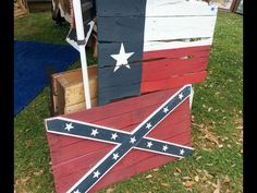 TEXAS FLAG AND REBEL FLAG MADE FROM OLD PALLETS / PALLET WOOD / RECLAIMED PALLETS. CREATED BY 4:13 REDEEMED CREATIONS (*LIKE US ON FACEBOOK!)