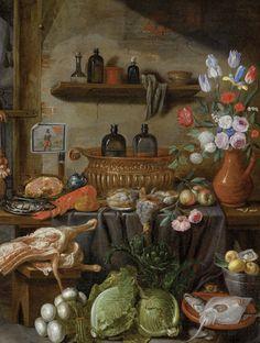 ⭐️Jan van Kessel II (Anvers 1654 Madrid 1708), Nature morte au gibier, bouquet de fleurs et choux