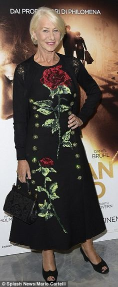 Blooming beautiful: The veteran actress cut a typically stylish figure in a flowing black ...
