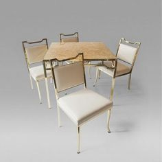"Capiz-Shell Game Table and Chairs, Billy Haines, USA, c. 1950 by William ""Billy"" Haines"