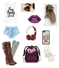 """""""Boy meets bubblegum pink"""" by lunaticxslasher ❤ liked on Polyvore featuring Aéropostale, See by Chloé, Beats by Dr. Dre and BP."""