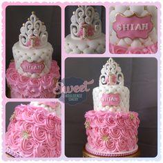 Winter Onederland 1st birthday cake. Rosettes, pillow tier and tiara.. wedding cake, birthday cake, custom cake, baby shower cake