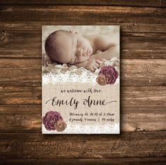 A personal favorite from my Etsy shop https://www.etsy.com/listing/221784279/baby-girl-birth-announcement-rustic