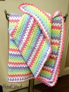 This is a baby blanket that can be made easily by even a new crochet student.#ad