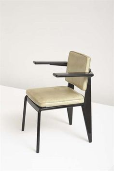 "JEAN PROUVÉ ""CPDE"" office armchair, ca. 1950  Painted bent sheet steel, painted tubular steel, vinyl. 30 3/4 in. (78.1 cm) high Manufactured by Les Ateliers Jean Prouvé, France."