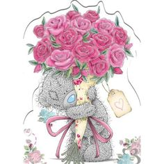 Tatty Teddy Holding Flowers Me to You Bear Card : Me to You Online - The Tatty Teddy Superstore. Teddy Bear Pictures, Bear Images, Tatty Teddy, Happy Birthday, Birthday Greetings, Urso Bear, Teddy Beer, Blue Nose Friends, Bear Graphic