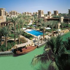 Surrounded by waterways served by traditional water taxis, Madinat Jumeirah is in fact three luxurious hotels of Arabic design. Mina A Salam is the central ''Harbour of Peace', Al Qasr, 'The Palace', a splendid boutique hotel, and Dar Al Masyaf, with its splendid private villas
