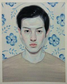Kris Knight, Blue Flowers Oil on prepared cotton paper, 10x8 2013