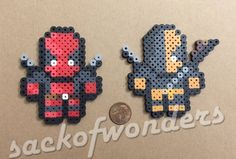 Deadpool and Deathstroke Combo Pixel Art Perler Bead - Magnet, Keychain, Necklace - Hanger, Car Hanger Melty Bead Designs, Necklace Hanger, Hama Beads Patterns, Beading Patterns, Perler Bead Art, Cross Stitch Boards, Bead Kits, Sandbox, Fuse Beads
