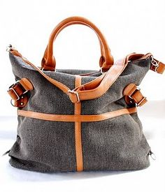 Grey bag with leather straps