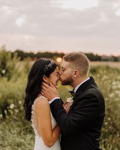 how CUTE is this shot of and her new hubby. Congrats you two, your day looked like a dream 💛⠀ ⠀ Photo Dress Florals Beauty Beautiful Bride, Hair Extensions, Curls, Wedding Day, In This Moment, Couple Photos, High Cut, Pictures, Florals