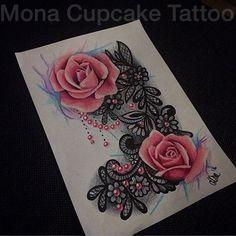 New design :) #tatted #tattoo #tattoed #tattoos #tattooartist #drawing #drawings #sketch #art #artist #lacetattoo #lacedrawing #design #tattoodesign #monacupcake #monacupcaketattoo #rosetattoo #girlyink #girlytattoo #watercolortattoo