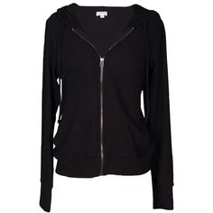 Velvet by Graham and Spencer Aviana Cozy Jersey Zip Up Hoodie (415 MYR) ❤ liked on Polyvore featuring tops, hoodies, jackets, sweaters, outerwear, black, long sleeve tops, velvet hoodie, velvet top and long sleeve hoodies