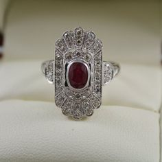 Art deco style 15k white gold, Milligrain detail Diamonds,natural Ruby ring, Certificate USA size 6 Engagement,christmas,dress ring