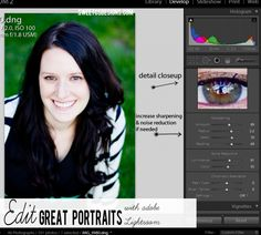 how to increase sharpness or easily take out digital noise in a portrait in lightroom- these are such great tips!