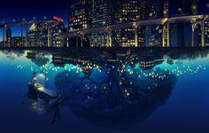 building city landscape mugon night original robot scenic tree water | konachan.net - Konachan.com Anime Wallpapers