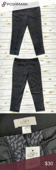 """LOFT Black And Navy Leaf Print Skinny Pants LOFT Black And Navy Leaf Print Skinny Pants  Super comfortable light weight 100% polyester pants. Size 10 brand new with tags. Real front pockets make these great for work or on campus. These have a 17"""" waist, 21"""" hips, and 28"""" inseam. Please let me know if you have any questions. I ship the same day as long as the post office is still open. Have a great day, thanks for checking out my closet and happy poshing! LOFT Pants Ankle & Cropped"""