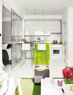 apartamentos pequenos, divisória em vidro Interior Design of a Small 40 Square Meter Apartment   DesignRulz.com