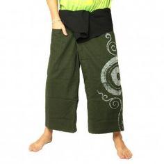 Pantalones pescador tailandés - con impresión espiral - verde de algodón