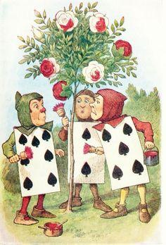 """Alice's Adventures in Wonderland - John Tenniel """"The Queen's Croquet Ground"""" - Gardeners painting the Rose Tree"""