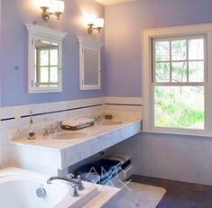Working with a variety of marble #colors and contrasting floor #tiles, I chose a delicate #periwinkle #blue which the homeowner loved. The #color accentuated the undertones of both the #stone and #tile.