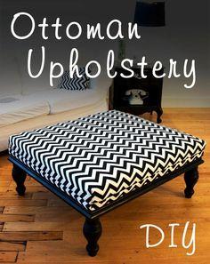 DIY Furniture: DIY Ottoman: DIY Table: DIY Home Crafts: Ottoman Upholstery, chevron