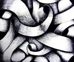 Curved Line Drawing - could do this with pencil blending tones - also using colour