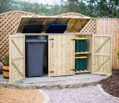The 2 Wheelie Bin & 2 Recycle Box Store prevents your garden from becoming increasingly untidy due to the proliferation of rubbish and recycling containers. Box Storage Unit, Storage Bins, Bin Storage Ideas Wheelie, Storage Solutions, Bin Shed, Wood Bin, Recycling Containers, Recycling Storage, Build Your Own Shed