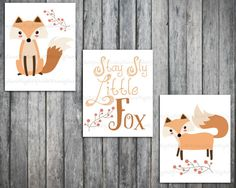 Fox Wall art-Woodland Nursery prints-Stay Sly by Raising3Cains