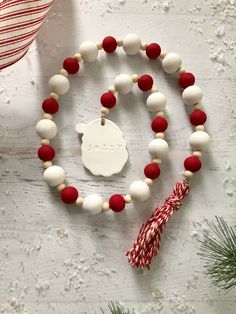 Looking for for inspiration for farmhouse christmas decor? Browse around this site for unique farmhouse christmas decor inspiration. This unique farmhouse christmas decor ideas seems absolutely superb. Wood Bead Garland, Diy Garland, Beaded Garland, Felt Garland, Farmhouse Christmas Decor, Christmas Wood, Etsy Christmas, Christmas Signs, Farmhouse Decor