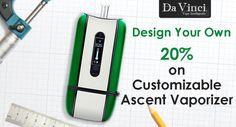 DaVinci Vaporizer is offering 20% savings on Customizable Ascent Vaporizer. Snap up now and design your own. For more DaVinci Vaporizer Coupon Codes visit: http://www.couponcutcode.com/stores/davinci/